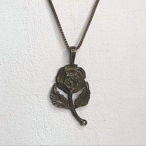 VTG Sterling Silver Rose Flower Pendant Necklace